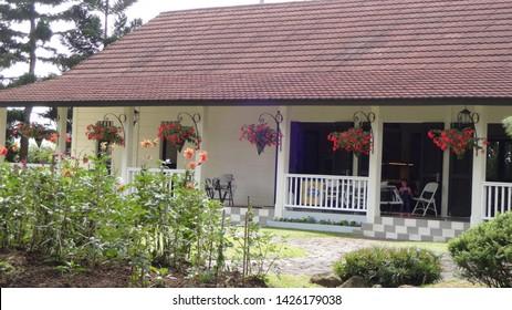 Restaurant with old wester style in nusantara flower garden in cianjur, west java , indonesia. photo taken in june 2019