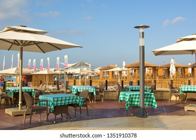 Restaurant on beach in  hotel in Belek. Turkey, Belek. September 12, 2018