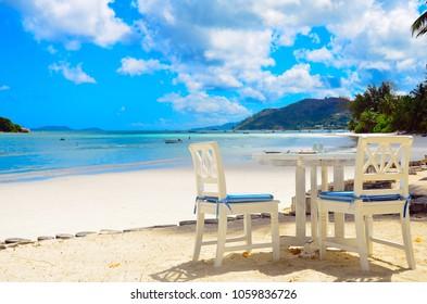 Restaurant on the beach, Seychelles