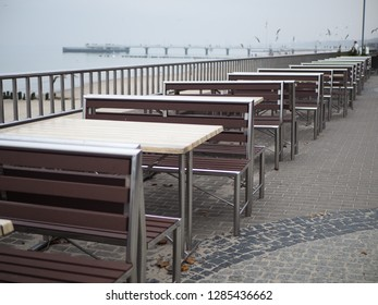 Restaurant on the beach, a lot of sits, benches