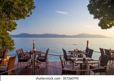 Restaurant on the beach with a view of the Adriatic sea