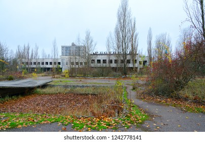Restaurant on central square in dead abandoned ghost town of Pripyat, Chernobyl NPP exclusion zone, Ukraine