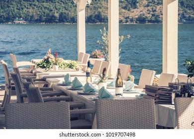 Restaurant on sea shore, vintage picture, Adriatic, Montenegro