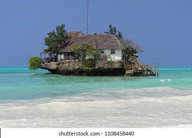 Restaurant on small rock island in Zanzibar Tanzania