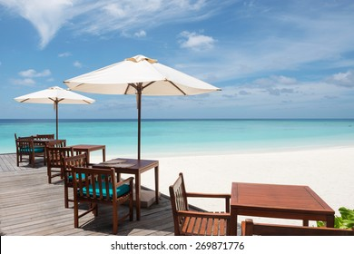Restaurant on the tropical beach, Maldives