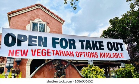 Restaurant Open for Take Out Banner Sign during Coronavirus Shelter in Place with Vegetarian Options