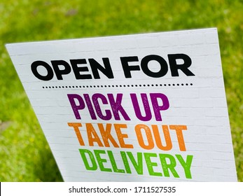 Restaurant Open for Take Out Delivery and Online Order Pickup Banner Sign