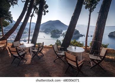 Restaurant overlooking Parga in Greece