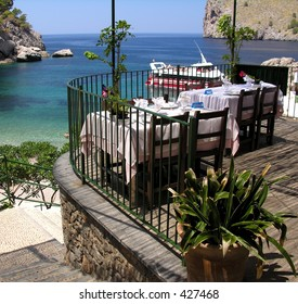 Restaurant with a panoramic beach view
