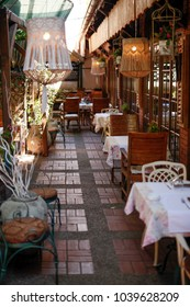 Restaurant patio in vintage style