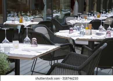 Restaurant Place Setting in City Street