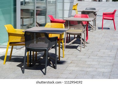 restaurant plastic outdoor furniture on the summer terrace