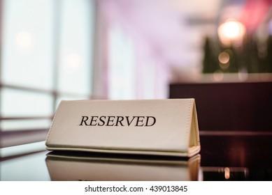 Restaurant reserved table