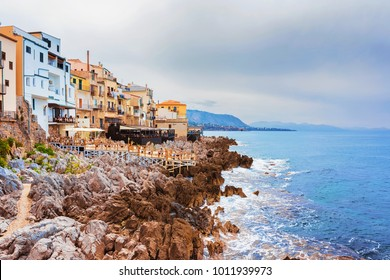 Restaurant at Rocky Coast of Cefalu old town, Palermo region, Sicily island of Italy
