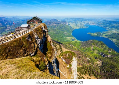 Restaurant at the Schafberg viewpoint, Upper Austria. Schafberg viewpoint located in the Salzkammergut region of Austria near St Wolfgang.