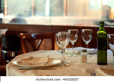 The restaurant serves for lunch. Photos with beautiful bokeh