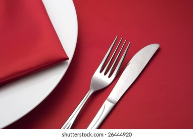 restaurant set for dinner