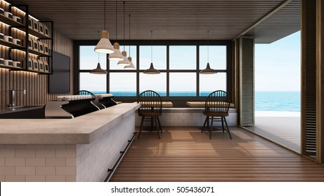 Restaurant & Shop design modern take sea view - 3D render