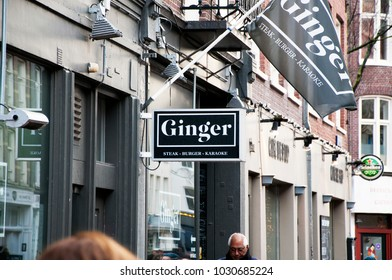 "Restaurant signs on the streets of Amsterdam. ""Ginger"" restaurant sign. The restaurant in the center of Amsterdam. The place that tourists prefer. Amsterdam. Netherlands. December 2017."