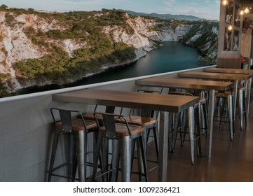 A restaurant with space for large labels or pictures, with clipping path