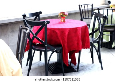 restaurant table on the street in old city.