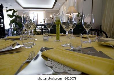 Restaurant table setting detail