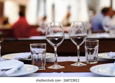 Restaurant table setting glasses background