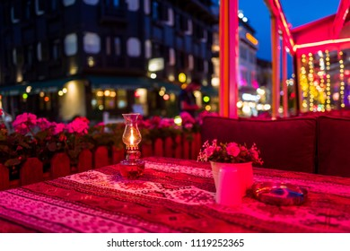 A restaurant table in the Sultanahmed area at night in Istanbul