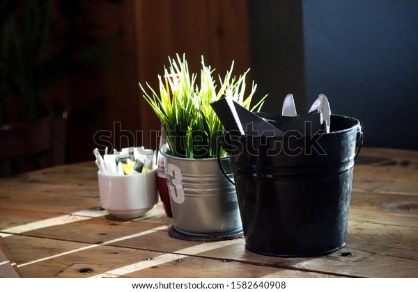 Restaurant table top with plant