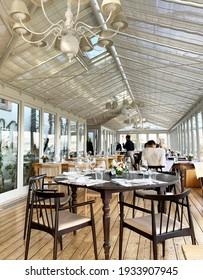In a restaurant. Terrace. Photo made in Vila Nova de Gaia, Portugal. Date of photo is 06.01.2020