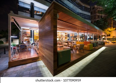 Restaurant terrace in the summer night
