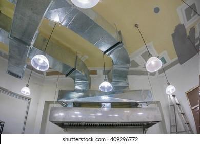 The restaurant ventilation system. Airflow fan for ventilate vacuum odor. Ventilation in the kitchen. construction work.