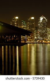 restaurant with view of San Diego Skyline at night