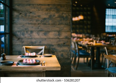 Restaurant with wooden interior