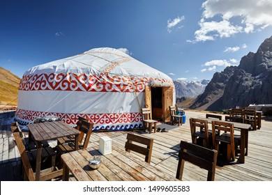 Restaurant from Yurt nomadic house at Ski resort Shymbulak in Almaty, Kazakhstan