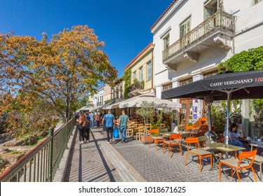 Restaurants along Adrianou during late afternoon,  Monastiraki District, Athens, Greece, Europe 12 October 2017