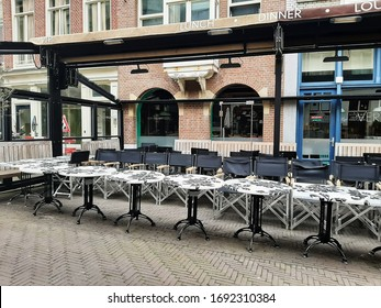 Restaurants, bars, cafes must be closed because of Corona Virus outbreak. Den Haag Centrum, the Netherland, 18 March 2020