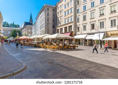 Restaurants on the Old Market, Old Town Salzburg UNESCO World Heritage (K / 1996), City of Salzburg, Salzach, Salzburger Land, Austria, Sept 2013