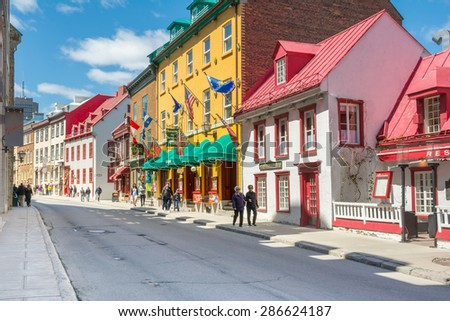 Restaurants Shops French Architectural Styled Buildings Stock Photo