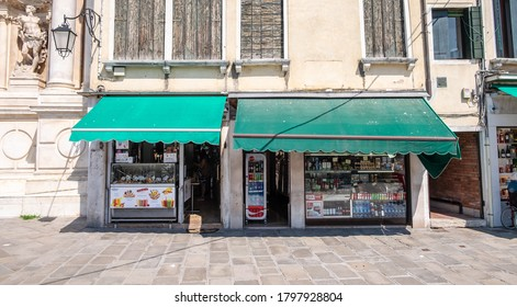 Restaurants and shops in Venice, May 2020, Italy