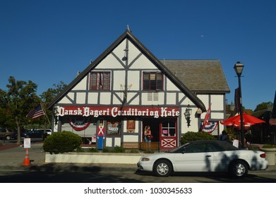 Restaurants Of Solvang: A Picturesque Village Founded By Danes With Its Typical Contructions Of The Historic Denmark. July 03, 2017. Solvang, California. EEUU. USA.