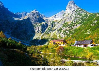 restaurants are under the peak mountain of Tatry in Slovakia