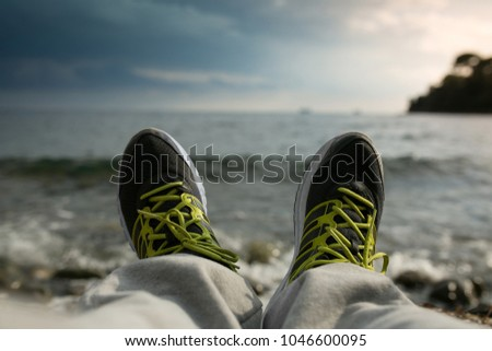 Resting after running on