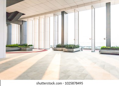 Resting area of a building, wide space in a building.interior of modern office, Abstract Background. Store, interior, office, elegant stools bright hall,