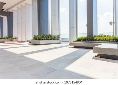 Resting area of a building, wide space in a building.interior of modern office, Abstract Background. Store, interior, office, elegant stools bright hall.