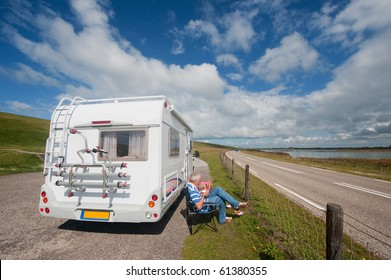 Resting by the mobil home while travelling around