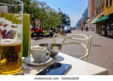 Resting at a cafe in Riva del Garda