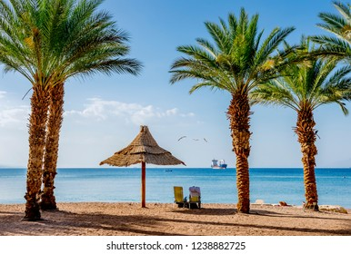 Resting coastal area in Eilat - famous tourist resort and recreation city in Israel and Middle East