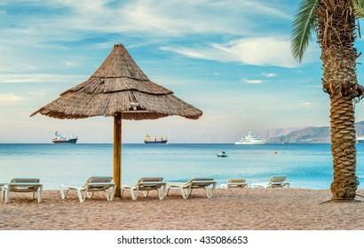 Resting facilities at the central beach of Eilat - famous resort city in Israel