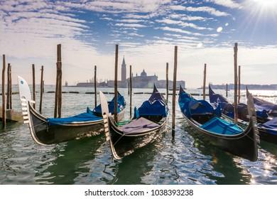 Resting Gondolas in Venice